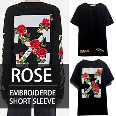 ROSE EMBROIDERED POINT SHORT SLEEVE T-SHIRTS