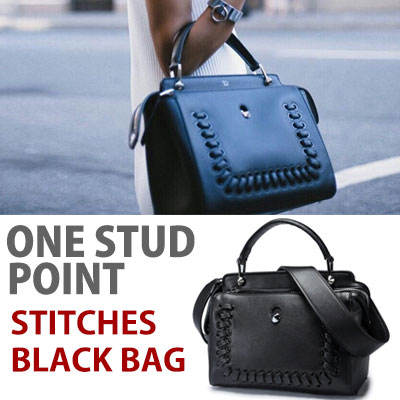 STITCHES ONE STUD POINT STITCHES BLACK BAG