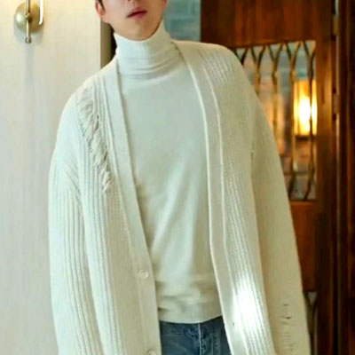 [HIGH QUALITY]K-POP ARTIST PARK HYO SHIN STYLE! DAMAGE KNIT LONG CARDIGAN