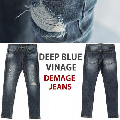 special price★SLIM FIT DEEP BLUE VINTAGE DEMAGE JEANS
