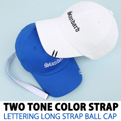 TWO TONE COLOR STRAP LETTERING LONG STRAP BALL CAP