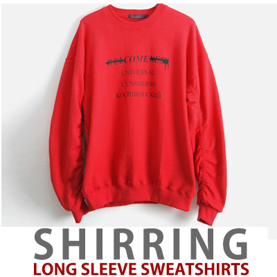 SHIRRING LONG SLEEVE SWEATSHIRTS