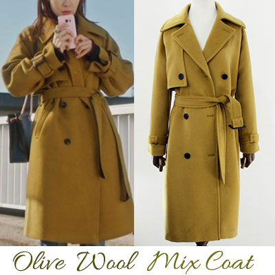 k-drama 'GOBLIN' st. OLIVE WOOD MIX COAT (4size)