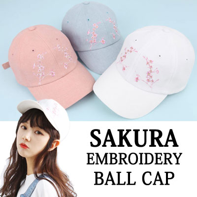 SAKURA EMBROIDERY SPRING SEASON ITEM BALL CAP