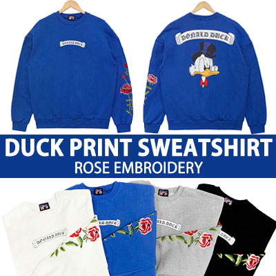 DUCK PRINT SWEATSHIRT ROSE EMBROIDERY