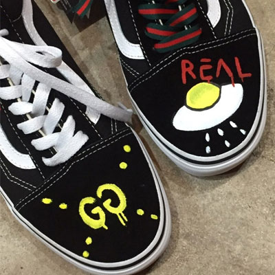 [UNISEX][22.0~28.0cm]original VANS old skool goods! UFO LIFE LOGO SNEAKER including logo shoe lace