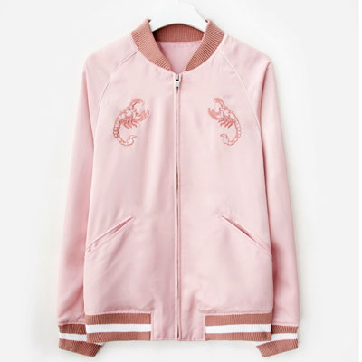 [33%Sale][8SECONDS]/2017ss 8 X GD's PICK(original)PINK EMBROIDERY SATIN SUKAJAN GD collaboration