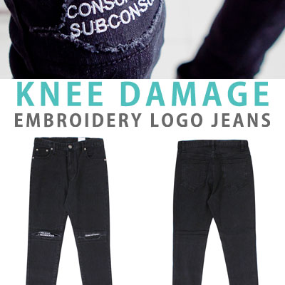 KNEE DAMAGE EMBROIDERY LOGO JEANS