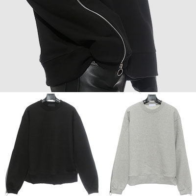 SLEEVEZIPPER POINT SWEATSHIRTS (BLACK,GREY)