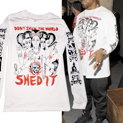 KANYE WEST st. SHEDIT UNIQUE PRINTED LONG SLEEVE T-SHIRT