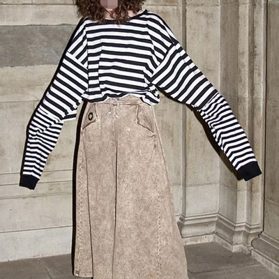 STRIPED LAYERD OVER SIZE LONG SLEEVE T-SHIRT