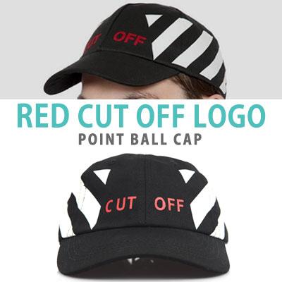 RED CUT OFF LOGO POINT BALL CAP