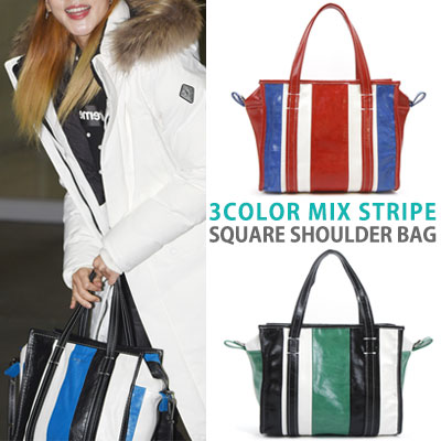 sandara st!3COLOR MIX STRIPE SQUARE SHOULDER BAG