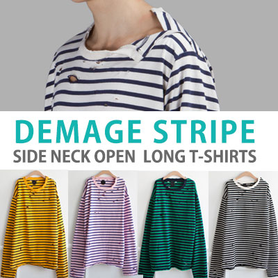 DAMAGE STRIPE SIDE NECK OPEN LONG T-SHIRT