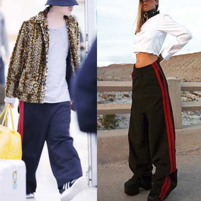 G-DRAGON st! RED 2LINE JERSEY WIDE PANTS