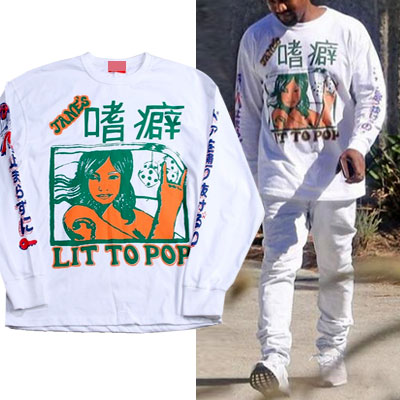 KANYE WEST st! LIT TO POP ROGO LONG SLEEVE SWEATSHIRT