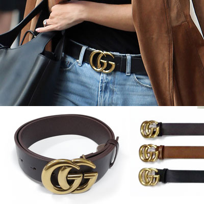 GOLD TWIN LOGO BUCKLE LETHER BELT