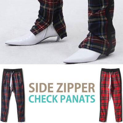 SIDE ZIPPER POINT CHECK PANTS