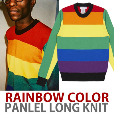 RAINBOW COLOR FLANNEL LONG KNIT
