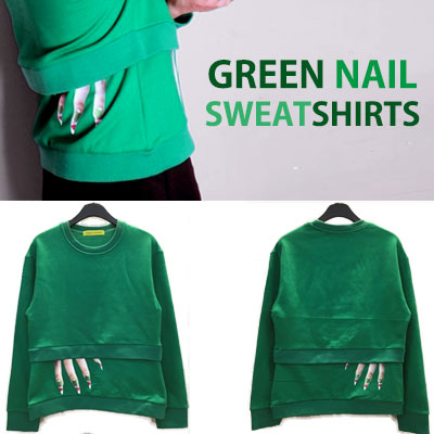 UNIQUE PRINTING! GREEN NAIL PRINT SWEATSHIRTS