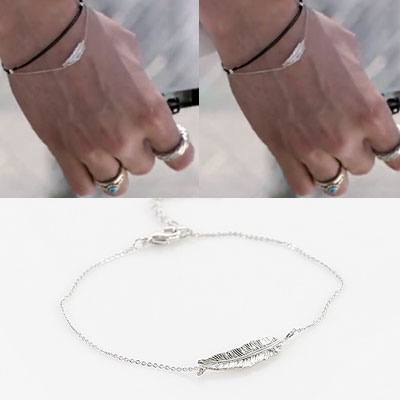 BTS style!FEATHER WITH CHAIN BRACELET