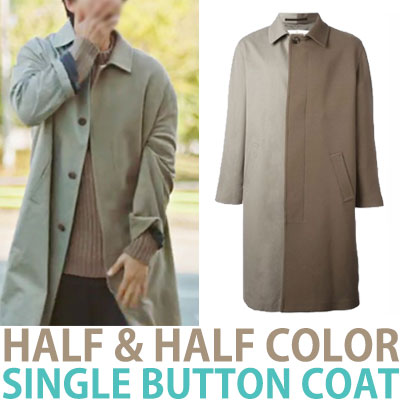 HALF&HALF COLOR SINGLE BUTTON COAT
