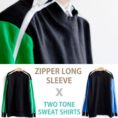 ZIPPER LONG SLEEVE TWO TONE SWEAT SHIRT