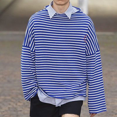 BOAT NECK OVERSIZE STRIPE T-SHIRT
