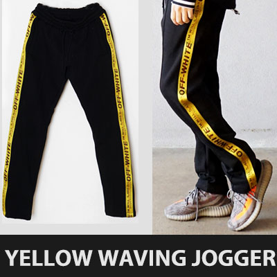 ★RE_ORDER★YELLOW WAVING LINE SWEATPANTS/JOGGER