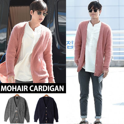 Popular actor Park Hae-jin Airport Fashion style! Mohair cardigan (GREY/BLACK/ PINK / 3color)-copy