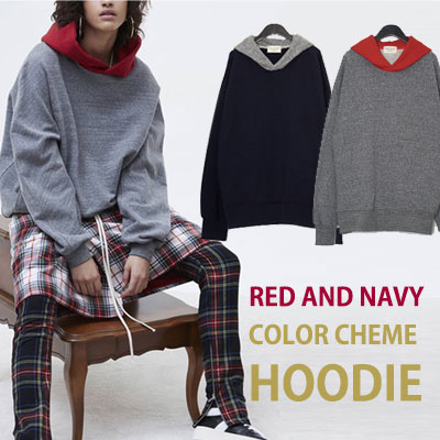 RED & NAVY COLOR CHEME HOODIE