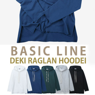 [BASIC SIMPLE LINE]DEKI RAGLAN HOODIE