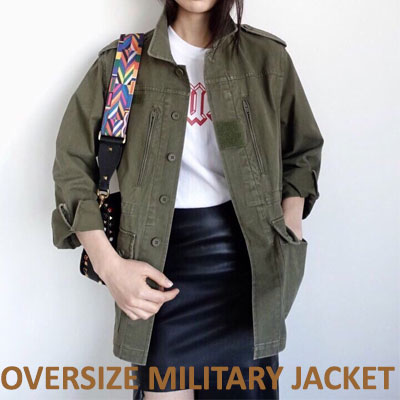 【FEMININE : BLACK LABEL】 OVERSIZED MILITARY JACKET (2color)