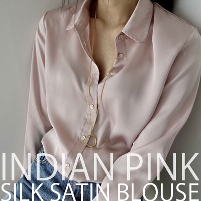 【FEMININE : BLACK LABEL】INDIAN PINK SILK SATIN BLOUSE