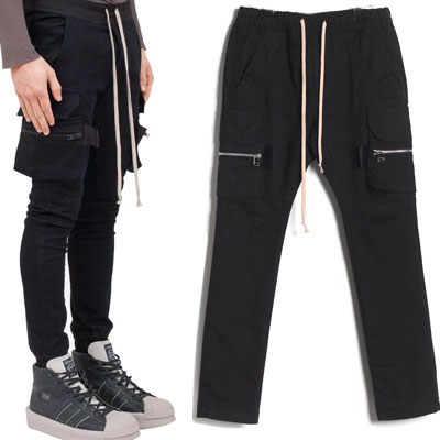 SKINNY COTTON CARGO TROUSERS
