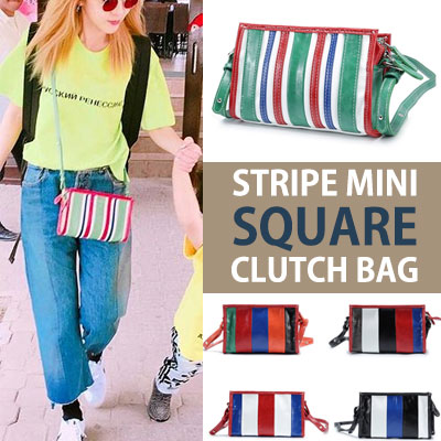 SANDARA st! STRIPE MINI SQUARE CLUTCH BAG