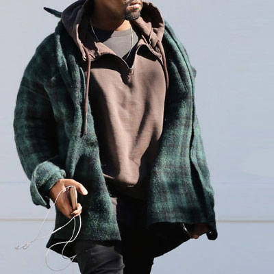 WOOL 90% POLY 10% KANYE WEST st!GREEN CHECK WOOL FLANNEL SHRITS
