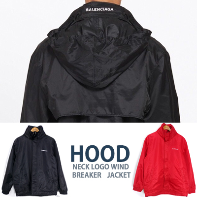 UNISEX/BACK NECK LOGO WIND BREAKER JACKET