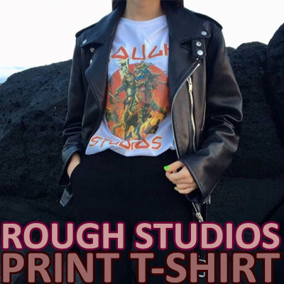 【FEMININE : BLACK LABEL】ROUGH STUDIO PRINT T-SHIRT