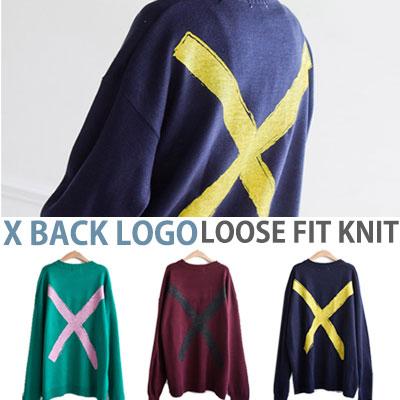 X BACK LOGO LOOSE FIT KNIT