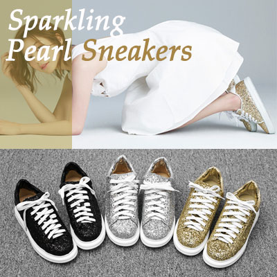 【RANG SHE】[22.5~25.0cm]Sparkling Pearl Sneakers(3color)