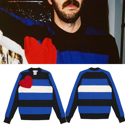 RED BIG HEART POINT STRIPE KNIT