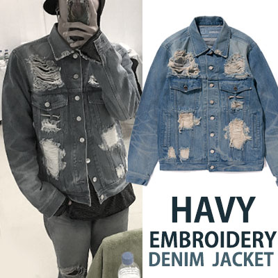 G-DRAGON ST. HAVY EMBROIDERY DENIM JACKET/fxxk it
