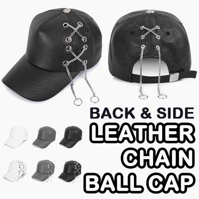 LEATHER CHAIN BALL CAP/UNIQUE BALL CAP