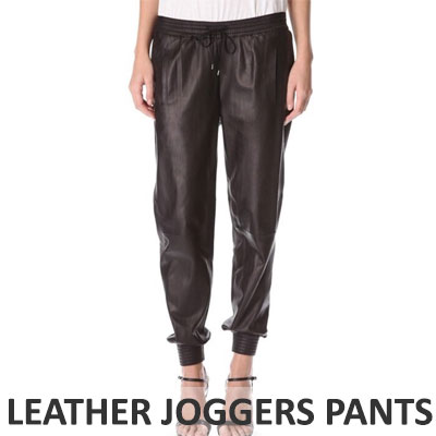 【FEMININE : BLACK LABEL】BLACK LEATHER JOGGERS PANTS