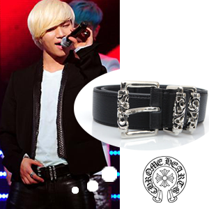 Bigbang of D-lite (Dae-sung) wear ChromeHeart (Chrome Hearts) wind rolling buckle leather belt