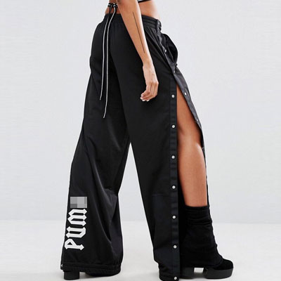 RIHANNA,SANDARA,JESSI ST! SNAP BUTTON LINE UNISEX TYPE WIDE PANTS