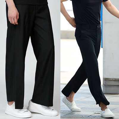 K-DRAMA GONG YU ST! UNBALANCE CUT WIDE BLACK SLACKS