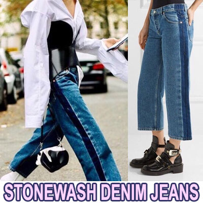【FEMININE : BLACK LABEL】 STONEWASH DENIM JEANS