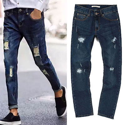 VINTAGE DAMAGE BLUE DENIM JEANS